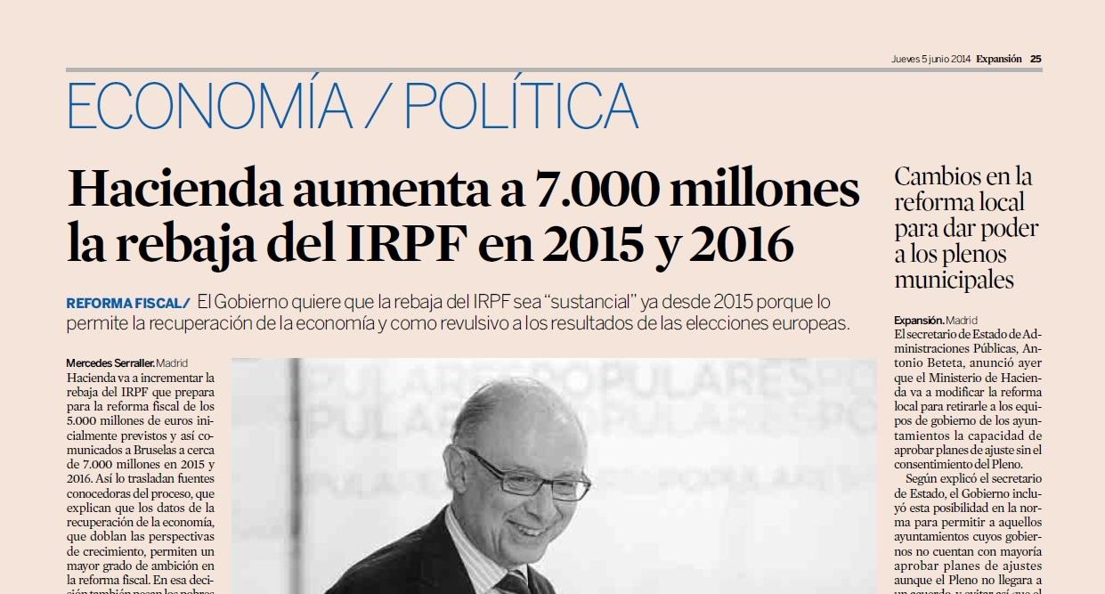 Rebaja del IRPF en 2015 y 2016